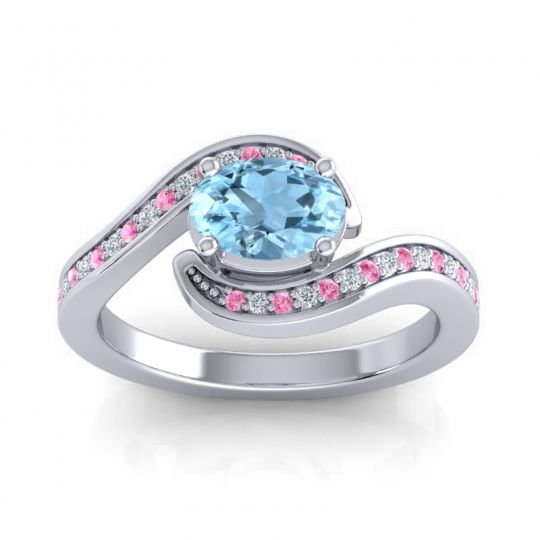 Bypass Oval Pave Phala Aquamarine Ring with Diamond and Pink Tourmaline in 14k White Gold