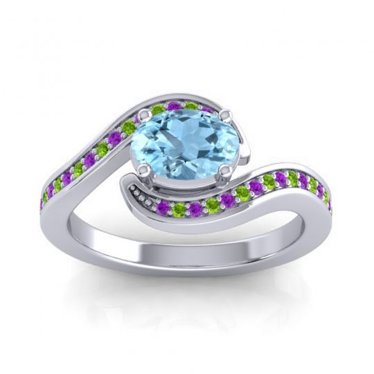 Bypass Oval Pave Phala Aquamarine Ring with Peridot and Amethyst in Palladium