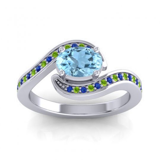 Bypass Oval Pave Phala Aquamarine Ring with Peridot and Blue Sapphire in Palladium