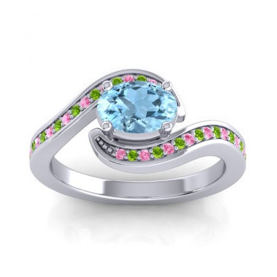 Bypass Oval Pave Phala Aquamarine Ring with Peridot and Pink Tourmaline in Platinum