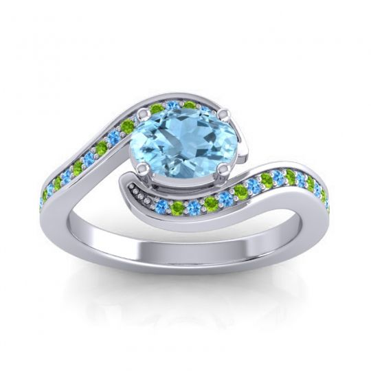 Bypass Oval Pave Phala Aquamarine Ring with Peridot and Swiss Blue Topaz in Platinum
