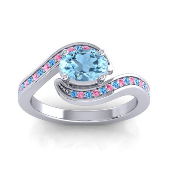 Bypass Oval Pave Phala Aquamarine Ring with Pink Tourmaline and Swiss Blue Topaz in 18k White Gold