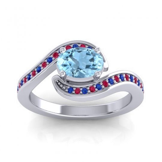 Bypass Oval Pave Phala Aquamarine Ring with Ruby and Blue Sapphire in 18k White Gold