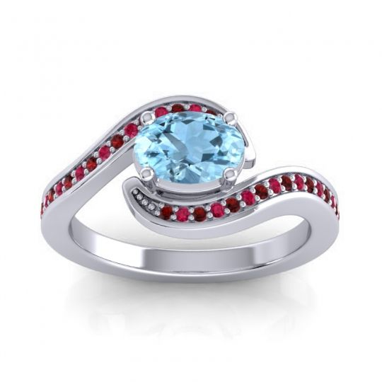 Bypass Oval Pave Phala Aquamarine Ring with Ruby and Garnet in Palladium
