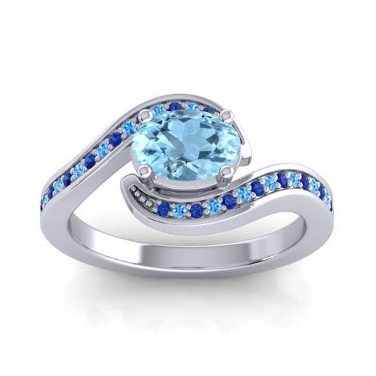 Bypass Oval Pave Phala Aquamarine Ring with Swiss Blue Topaz and Blue Sapphire in 18k White Gold