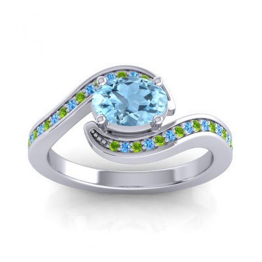 Bypass Oval Pave Phala Aquamarine Ring with Swiss Blue Topaz and Peridot in Platinum
