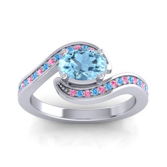Bypass Oval Pave Phala Aquamarine Ring with Swiss Blue Topaz and Pink Tourmaline in Platinum