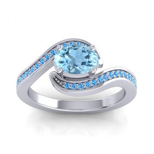 Bypass Oval Pave Phala Aquamarine Ring with Swiss Blue Topaz in Platinum