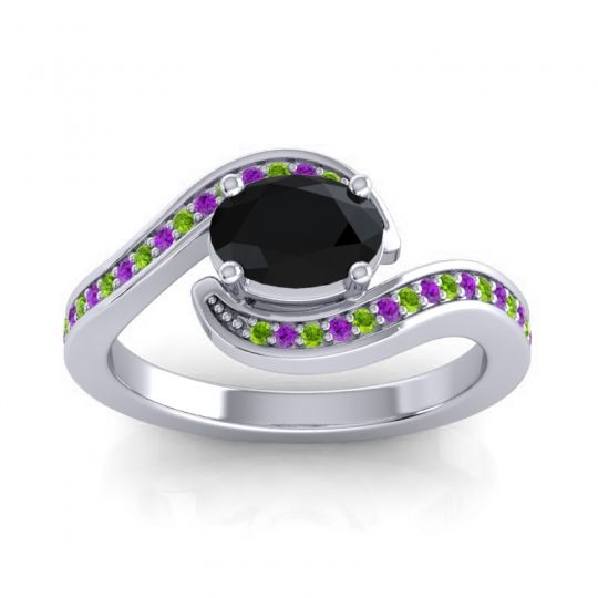 Bypass Oval Pave Phala Black Onyx Ring with Amethyst and Peridot in Platinum