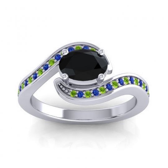 Bypass Oval Pave Phala Black Onyx Ring with Blue Sapphire and Peridot in Platinum