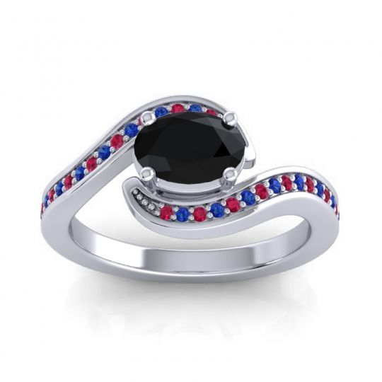 Bypass Oval Pave Phala Black Onyx Ring with Blue Sapphire and Ruby in Palladium
