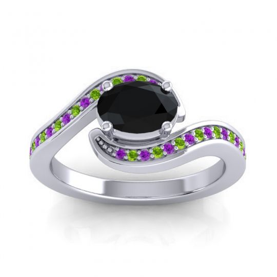 Bypass Oval Pave Phala Black Onyx Ring with Peridot and Amethyst in 14k White Gold