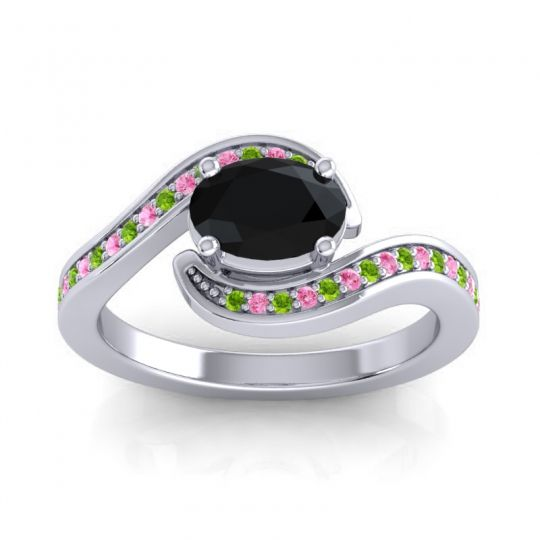 Bypass Oval Pave Phala Black Onyx Ring with Pink Tourmaline and Peridot in Palladium
