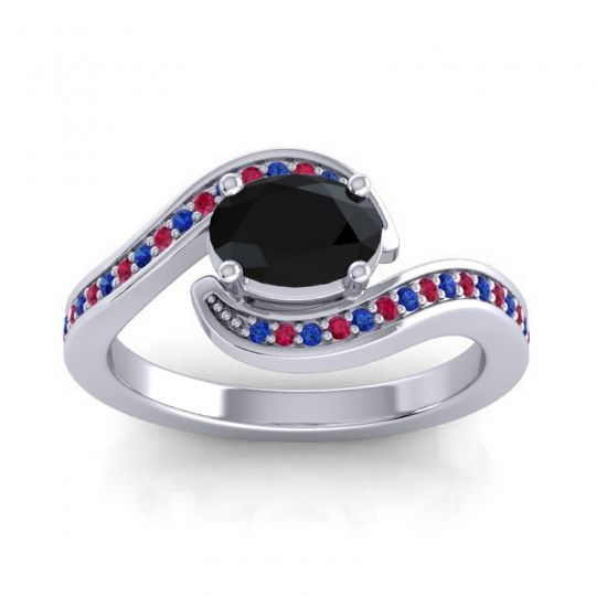 Bypass Oval Pave Phala Black Onyx Ring with Ruby and Blue Sapphire in 18k White Gold