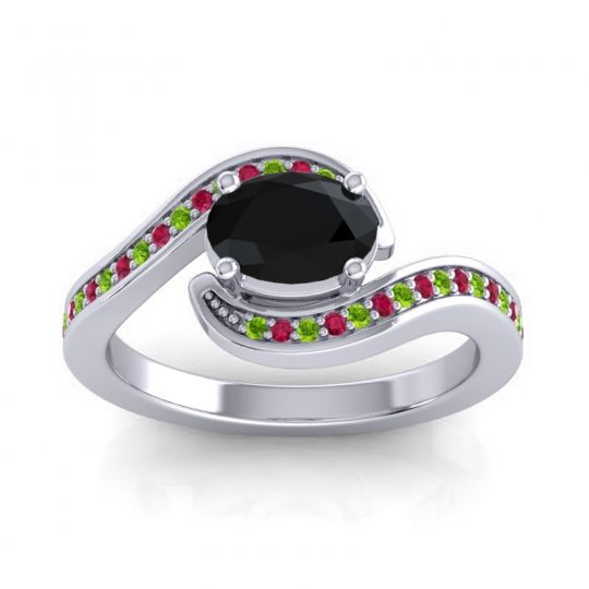 Bypass Oval Pave Phala Black Onyx Ring with Ruby and Peridot in Palladium
