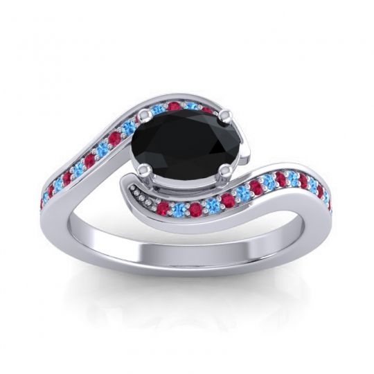 Bypass Oval Pave Phala Black Onyx Ring with Swiss Blue Topaz and Ruby in 14k White Gold