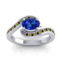 Bypass Oval Pave Phala Blue Sapphire Ring with Peridot and Garnet in Palladium