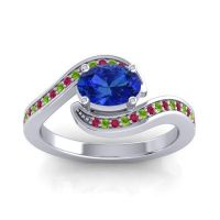 Bypass Oval Pave Phala Blue Sapphire Ring with Peridot and Ruby in Palladium