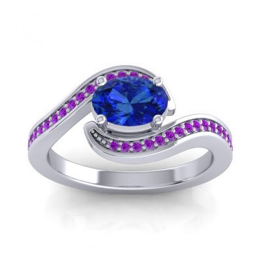 Bypass Oval Pave Phala Blue Sapphire Ring with Amethyst in 14k White Gold