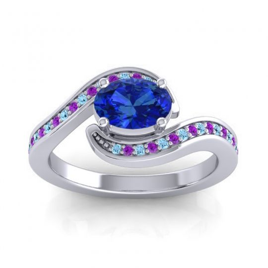 Bypass Oval Pave Phala Blue Sapphire Ring with Amethyst and Aquamarine in 14k White Gold
