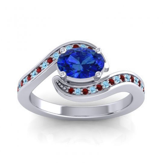 Bypass Oval Pave Phala Blue Sapphire Ring with Aquamarine and Garnet in Palladium
