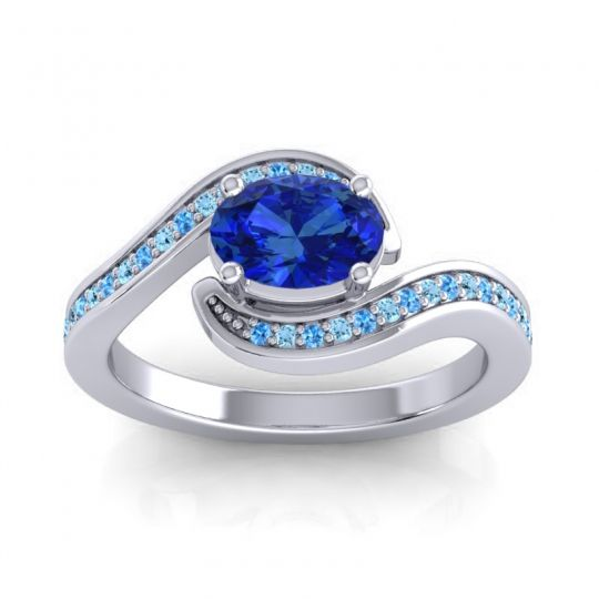 Bypass Oval Pave Phala Blue Sapphire Ring with Aquamarine and Swiss Blue Topaz in Palladium