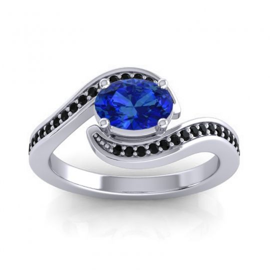 Bypass Oval Pave Phala Blue Sapphire Ring with Black Onyx in Palladium