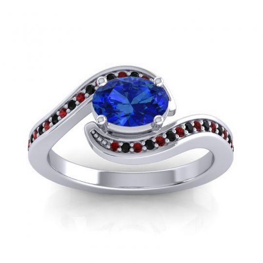 Bypass Oval Pave Phala Blue Sapphire Ring with Black Onyx and Garnet in Platinum