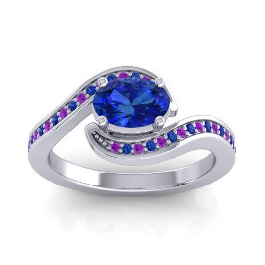 Bypass Oval Pave Phala Blue Sapphire Ring with Amethyst in 18k White Gold
