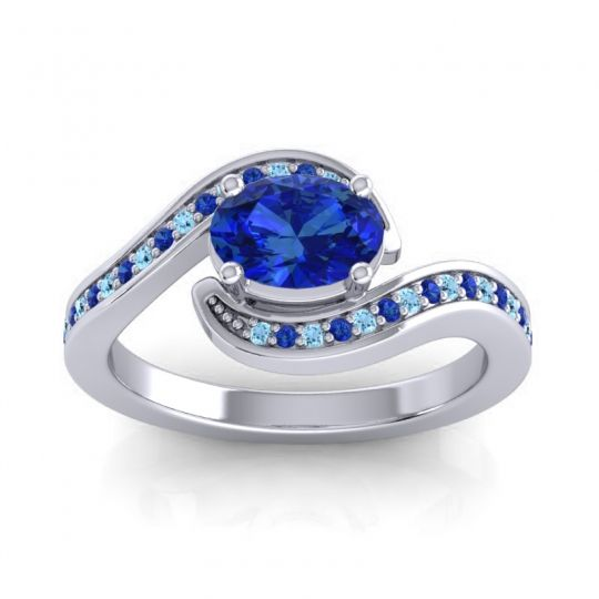 Bypass Oval Pave Phala Blue Sapphire Ring with Aquamarine in 14k White Gold