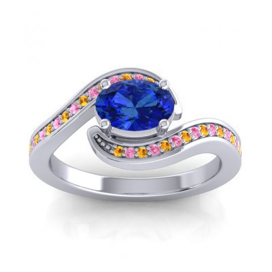 Bypass Oval Pave Phala Blue Sapphire Ring with Pink Tourmaline and Citrine in 14k White Gold
