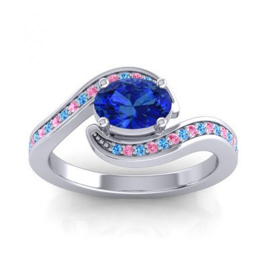 Bypass Oval Pave Phala Blue Sapphire Ring with Pink Tourmaline and Swiss Blue Topaz in 18k White Gold