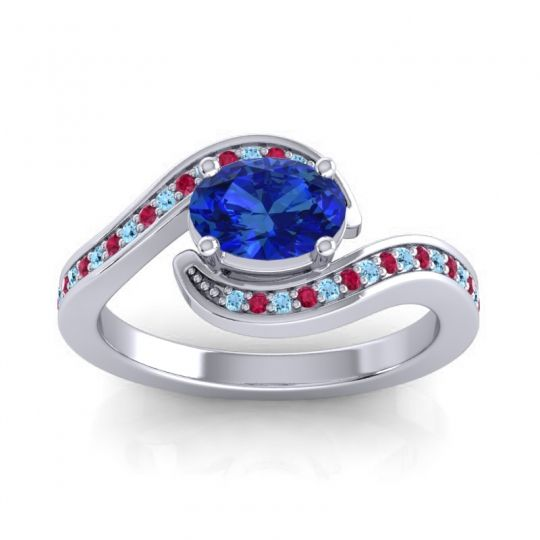 Bypass Oval Pave Phala Blue Sapphire Ring with Ruby and Aquamarine in 14k White Gold