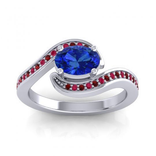 Bypass Oval Pave Phala Blue Sapphire Ring with Ruby and Garnet in Palladium
