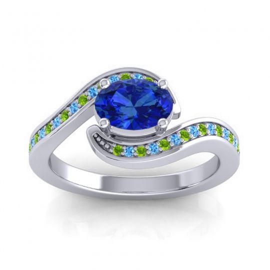 Bypass Oval Pave Phala Blue Sapphire Ring with Swiss Blue Topaz and Peridot in 14k White Gold