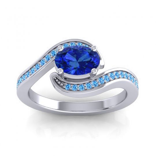 Bypass Oval Pave Phala Blue Sapphire Ring with Swiss Blue Topaz in 14k White Gold