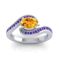 Bypass Oval Pave Phala Citrine Ring with Amethyst and Blue Sapphire in 14k White Gold
