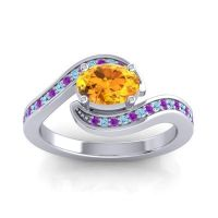 Bypass Oval Pave Phala Citrine Ring with Aquamarine and Amethyst in Platinum