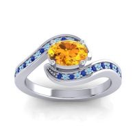 Bypass Oval Pave Phala Citrine Ring with Aquamarine and Blue Sapphire in Palladium