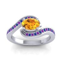 Bypass Oval Pave Phala Citrine Ring with Blue Sapphire and Amethyst in 14k White Gold