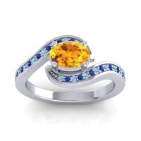 Bypass Oval Pave Phala Citrine Ring with Blue Sapphire and Aquamarine in Platinum