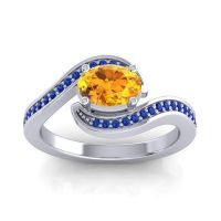 Bypass Oval Pave Phala Citrine Ring with Blue Sapphire in 14k White Gold