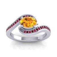 Bypass Oval Pave Phala Citrine Ring with Garnet and Ruby in 18k White Gold
