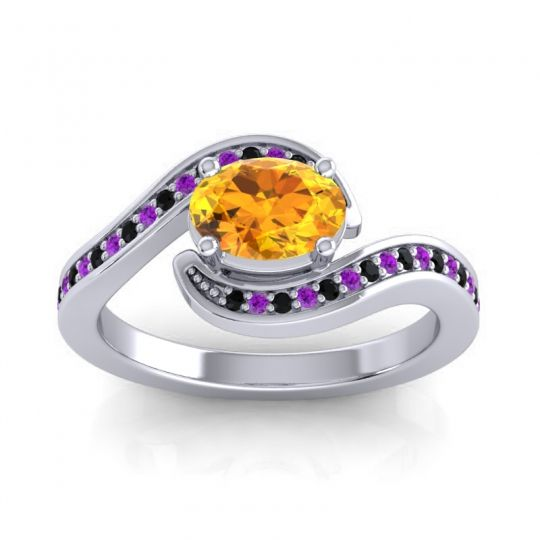 Bypass Oval Pave Phala Citrine Ring with Amethyst and Black Onyx in 18k White Gold