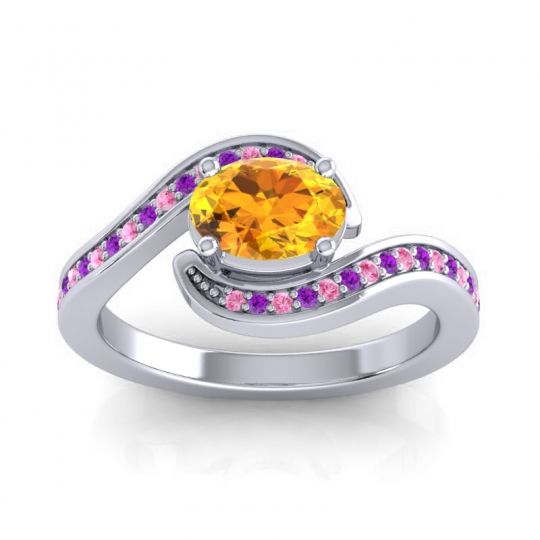 Bypass Oval Pave Phala Citrine Ring with Amethyst and Pink Tourmaline in 18k White Gold