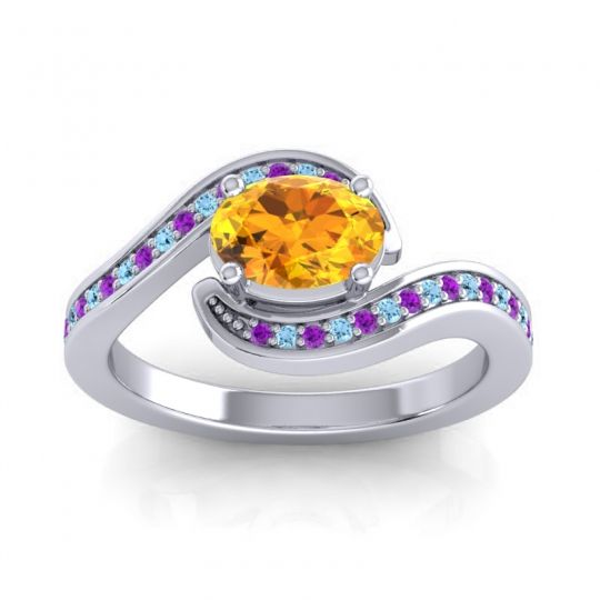 Bypass Oval Pave Phala Citrine Ring with Aquamarine and Amethyst in 18k White Gold