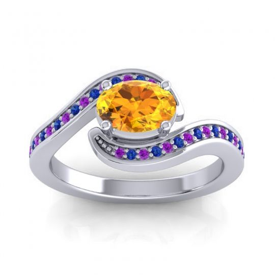 Bypass Oval Pave Phala Citrine Ring with Blue Sapphire and Amethyst in Platinum
