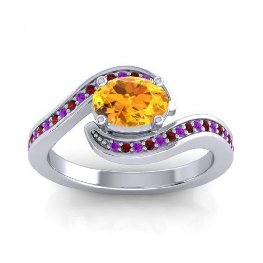 Bypass Oval Pave Phala Citrine Ring with Garnet and Amethyst in Palladium