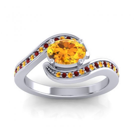 Bypass Oval Pave Phala Citrine Ring with Garnet in 14k White Gold