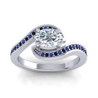 Bypass Oval Pave Phala Diamond Ring with Black Onyx and Blue Sapphire in 18k White Gold